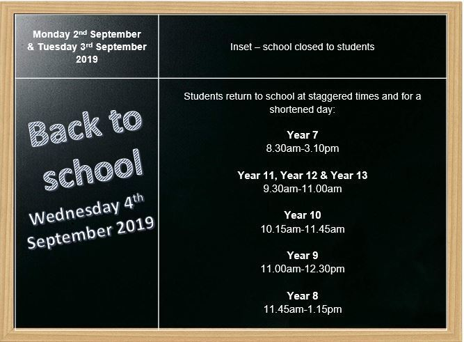 Back to school   Sept 2019   Staggered times