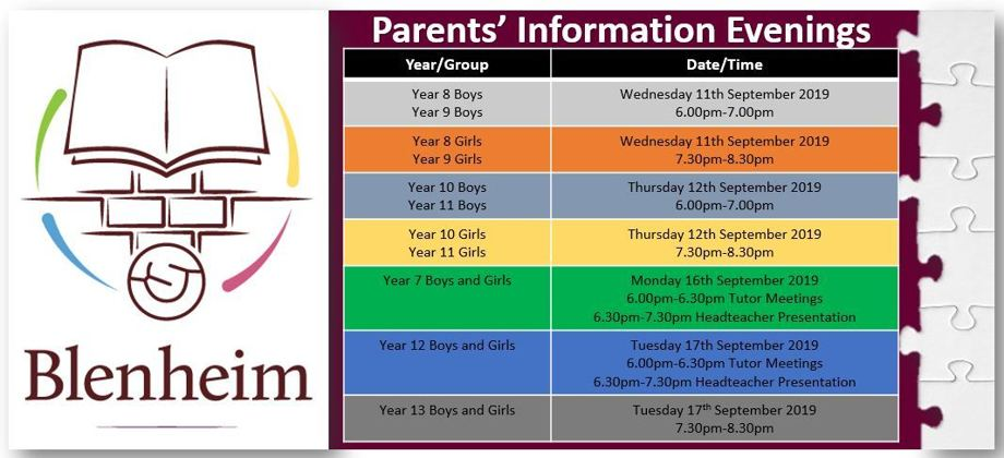 Parents' Information Evenings Sept 2019