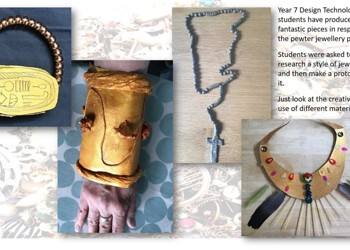 Pewter jewellery from Year 7 Design and Technology students