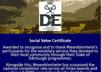 We have been awarded the Duke of Edinburgh Social Value Certificate!