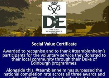 We have been awarded the Duke of Edinburgh Social Value Certificate!